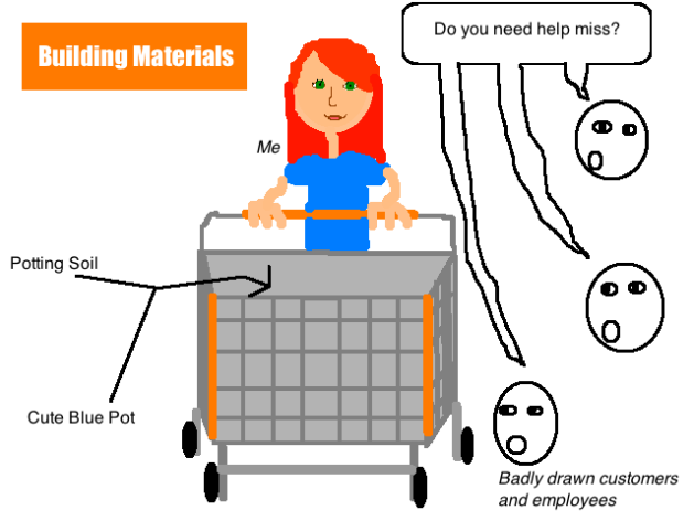 home depot, shopping cart, flower pot, potting soil, customer, employee
