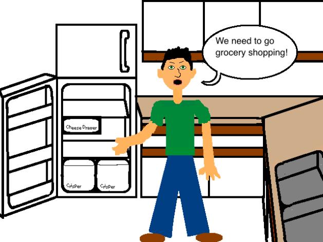 grocery shopping, kitchen, empty fridge, boyfriend