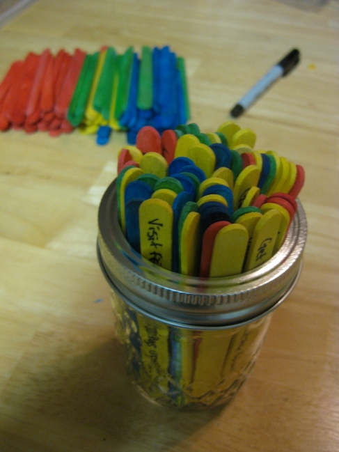 Date night ideas, popsicle stick jar