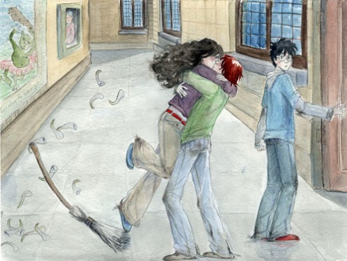 ron and hermione, harry potter, fan art, deathly hallows