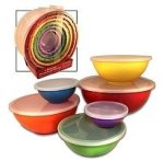 colorful mixing bowls, food preparation