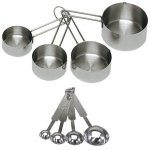 stainless steel measuring cups, cooking, food preparation
