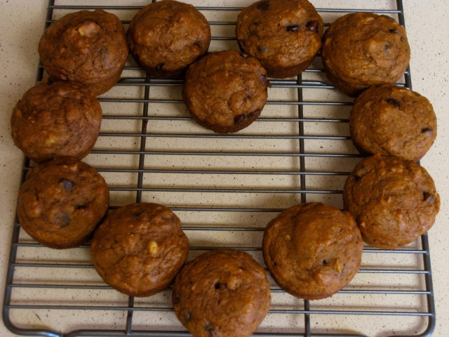 Maggie's Mind Mumbles//: Pumpkin Spice Muffins with Chocolate Chips and Walnuts